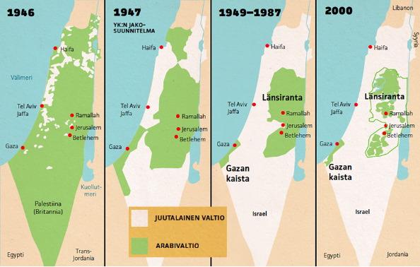 Israel palestiina kartta